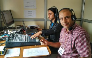 "Surendra Phuyal,  a BBC World Service correspondent based in Kathmandu, Nepal, works from a temporary studio to present BBC Nepali's Dawn Show. ""Bihanipakha"""