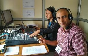 "Surendra Phuyal,  a BBC World Service correspondent based in Kathmandu, Nepal, works from a temporary studio to present BBC Nepali's Dawn Show. ""Bihanipakha"""