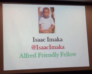 Opening screen of Isaac's presentation at the Herald