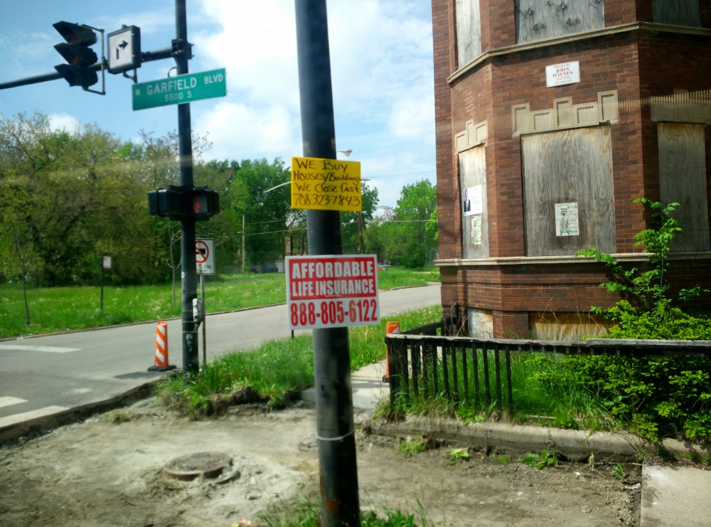 A run-down neighborhood on Chicago's South Side a few miles from Obama's house